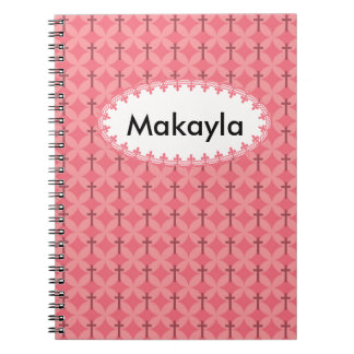 Petals and Crosses Personalize Spiral Note Book