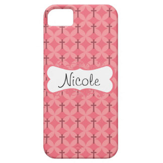 Petals and Crosses Pink Personalize iPhone 5 Covers