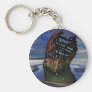 Peter Iredale Shipwreck Under Starry Night Sky Key Ring
