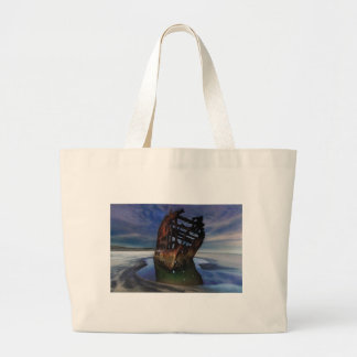 Peter Iredale Shipwreck Under Starry Night Sky Large Tote Bag