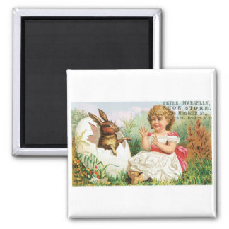 Peter Marselly Shoe Store Girl with Rabbit Square Magnet