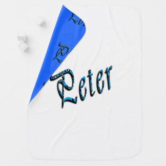 Peter, Name, Logo,Reversible Baby Blanket. Baby Blanket