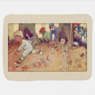 Peter Pan and Fairies running from Pirates Baby Blanket