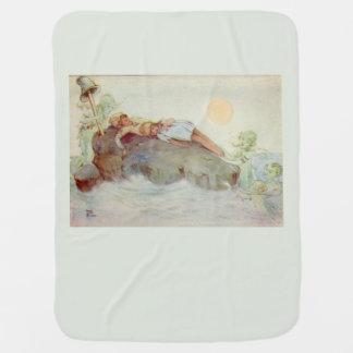 Peter Pan and Wendy Asleep with Mermaids green Baby Blanket
