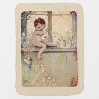 Peter Pan at window - fairies -beige background Pramblankets