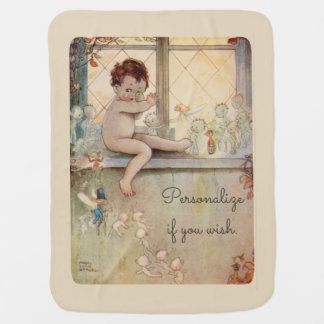 Peter Pan at window - fairies -beige background Swaddle Blankets