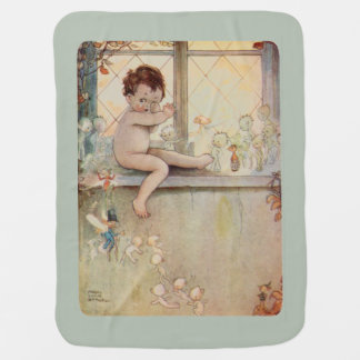 Peter Pan at window with fairies - moss background Buggy Blanket