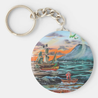 Peter Pan Hook's cove Tinker Bell painting Key Ring