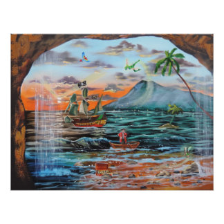 Peter Pan Hook's cove Tinker Bell painting Poster