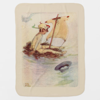 Peter Pan on nest raft - beige background Baby Blanket