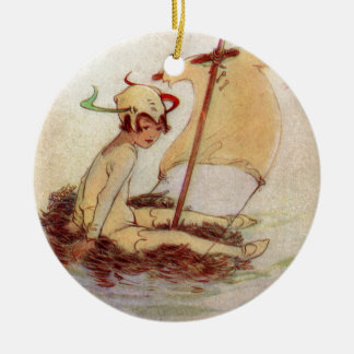 Peter Pan on Nest Raft Ceramic Ornament