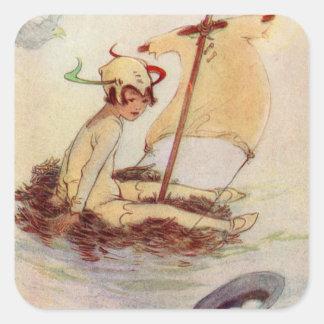 Peter Pan on nest raft Square Sticker