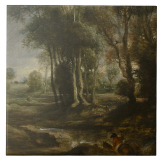 Peter Paul Rubens - Evening Landscape with Timber Large Square Tile