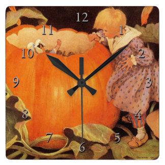 Peter, Peter, Pumpkin-Eater Nursery Rhyme Square Wall Clock