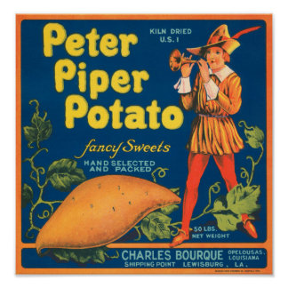 Peter Piper Potato Fancy Sweets Vintage Crate Labe Poster