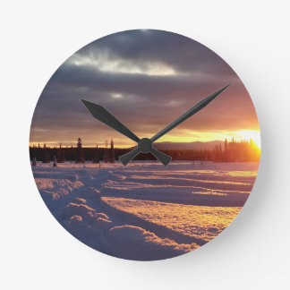 Petersville Sunset Alaskan Riding or Pioneer Falls Round Clock