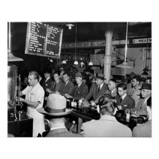 Pete's Lunch Counter, 1950. Vintage Photo Poster