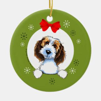 Petit Basset Griffon Vendeen Christmas Classic Round Ceramic Ornament