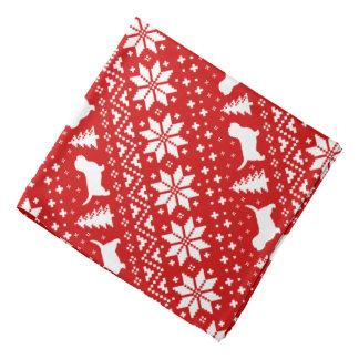 Petit Basset Griffon Vendeen Christmas Pattern Red Bandana