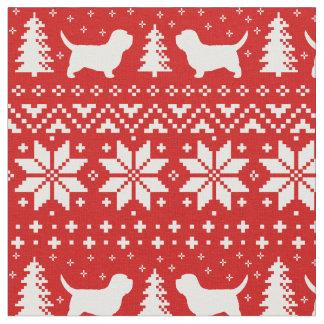 Petit Basset Griffon Vendeen Christmas Pattern Red Fabric