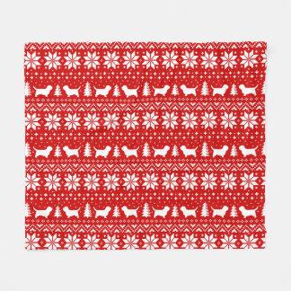Petit Basset Griffon Vendeen Christmas Pattern Red Fleece Blanket