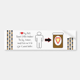 Petit Basset Griffon Vendéen Loves Peanut Butter Car Bumper Sticker
