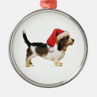 Petit Basset Griffon Vendeen Santa's Helper Metal Ornament