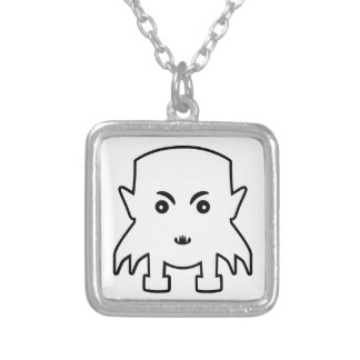 Petit Vampire Cartoon Illustration Silver Plated Necklace