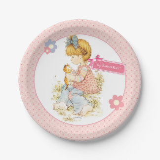"""Petite Fleur"" Party Paper Plate 7"" Pink 7 Inch Paper Plate"
