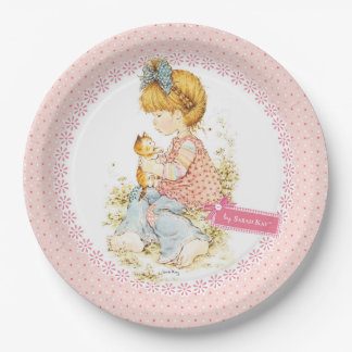 """Petite Fleur"" Party Paper Plate 9"" Pink 9 Inch Paper Plate"