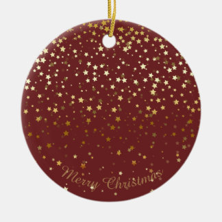 Petite Golden Stars Christmas Ornament-Burgandy Ceramic Ornament