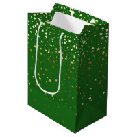 Petite Golden Stars Gift Bag in Green