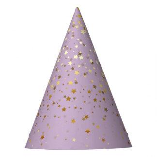 Petite Golden Stars Party Hat-Lavender Party Hat