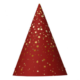 Petite Golden Stars Party Hat- Red Party Hat
