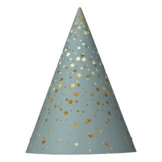 Petite Golden Stars Party Hat-Sea Foam Mist Party Hat