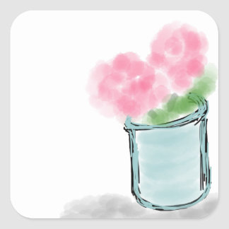 Petite Pink Flower Pot - Hand Drawn Sketch Square Sticker