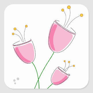 Petite Pink Tulip Flowers - Hand Drawn Sketch Square Sticker