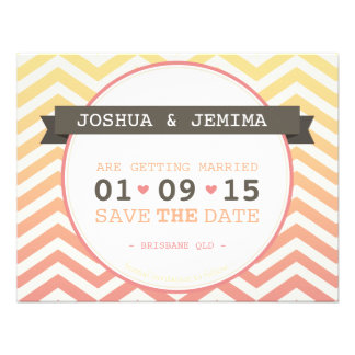 PETITE SAVE THE DATE ANNOUNCEMENT ombre chevron