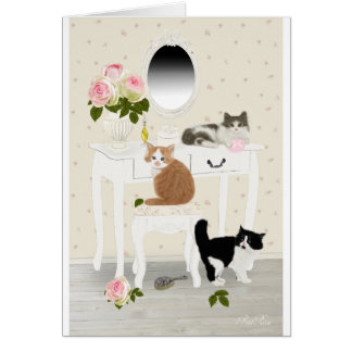 "PetitRose ""Kittens Beauty Salon"" ,Postcard Card"