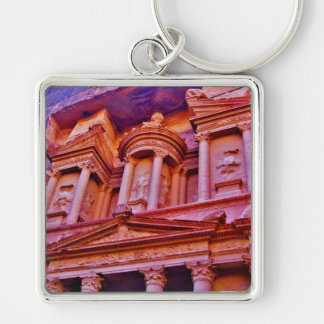 Petra Treasury Building Silver-Colored Square Key Ring