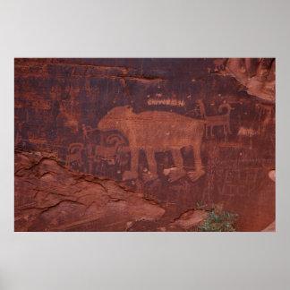 Petroglyph in Moab, Utah Poster
