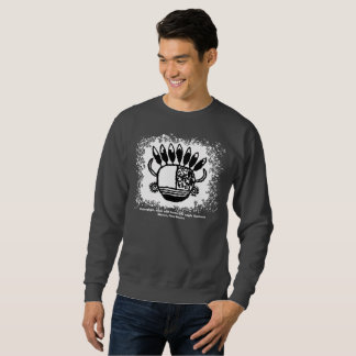 Petroglyph, mask with horns and eagle feathers sweatshirt