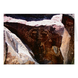 Petroglyph of a head,  possibly a self portrait - card