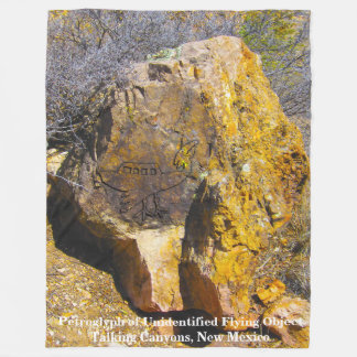 petroglyph UFO Talking Canyons, New Mexico Fleece Blanket