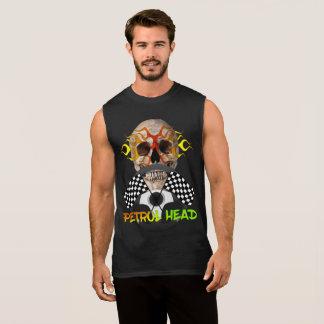 Petrol Head Cool Skull Motor Sports Theme Graphic Sleeveless Shirt