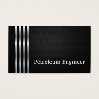 Petroleum Engineer Professional Black Silver Business Card