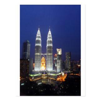 Petronas Towers illuminated at night Kuala Lumpur Postcard
