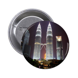 Petronas Towers in Kuala Lumpur at night Pinback Buttons
