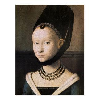 Petrus Christus portrait of a young woman Postcard