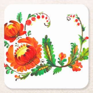 Petrykivka Ukrainian art Square Paper Coaster